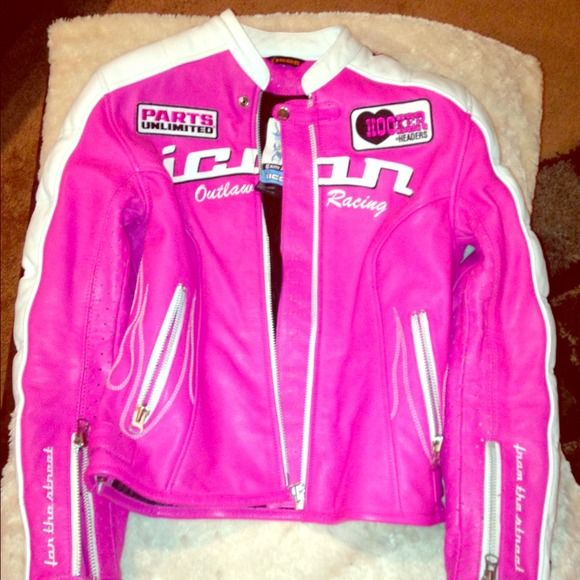 Reduced Hot pink icon jacket Women's size medium hot pink and white leather jacket icon Jackets & Coats