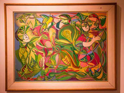 """""""Tras la enramada"""" Óleo sobre chapadur - 1987 Autor: Teresita López Lavoine"""