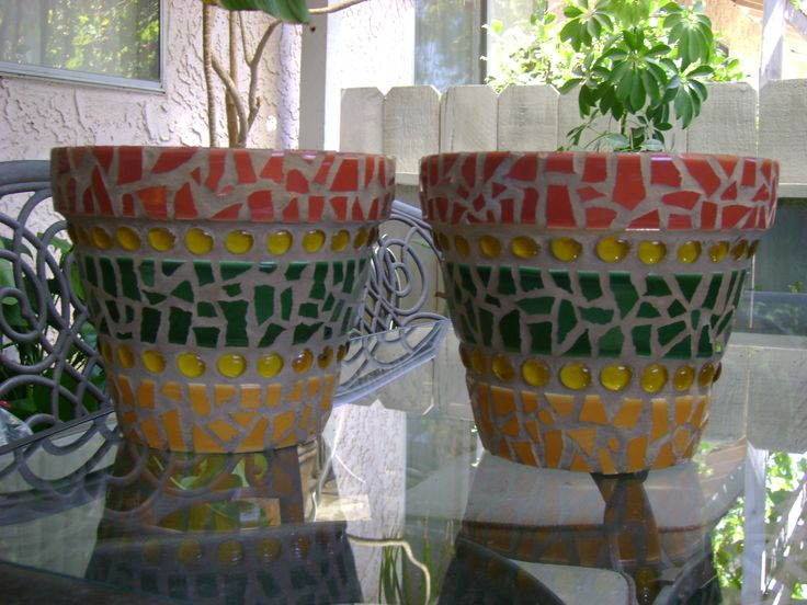 Mosaic planters by Ziggy