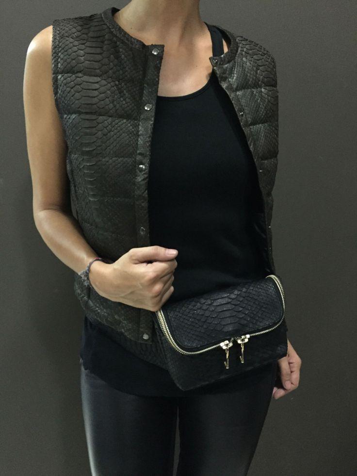 Black Leather Belt Bag. Python Leather hip bag. Natural Leather Fanny Pack. Python lLeather Belt Bag. by StudioANTU on Etsy