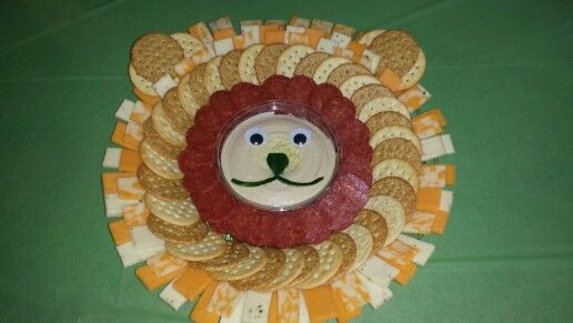 Lion cheese, crackers and pepperoni platter
