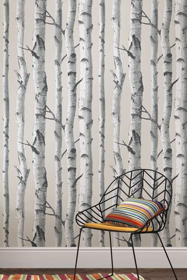 Brewster Home Fashions Mountain Birch Grey Peel & Stick Wallpaper