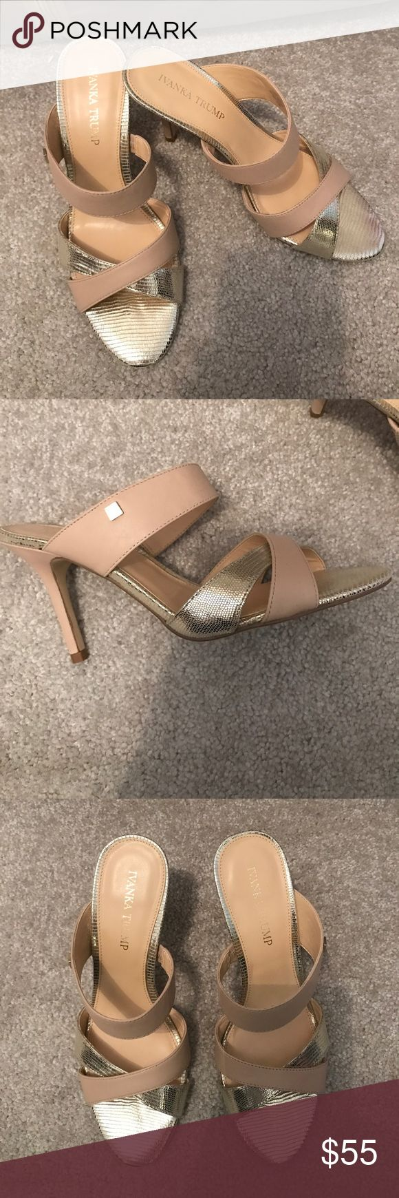 """Ivanka Trump heel sandals nude and gold size 8.5 NWOB Ivanka Trump heel sandals in nude and metallic gold- size 8.5 M. Never worn, no box. Heel height 3.5"""". Flawless, no wear at all. Ivanka Trump Shoes Sandals"""