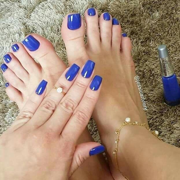 Blue manicure & pedicure