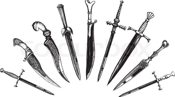 Set of Oriental and European Daggers in a woodcut like method ...