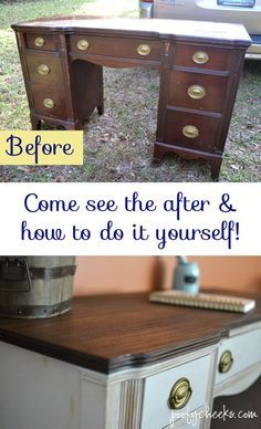 Two Toned Chalk Paint Vintage Desk Redo - a weekend redo project with a list of the supplies included!