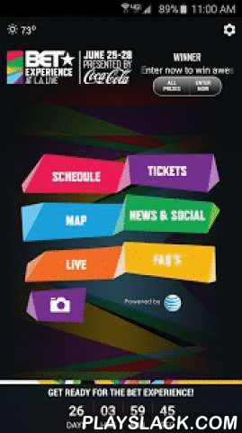 BET Experience '15  Android App - playslack.com , Welcome to the official BETX '15 App. You'll find everything you need to know about BET Experience right here – get ticket info, details about Fan Fest, schedule updates, and win FREE TICKETS to Nicki Minaj, Kendrick Lamar, Snoop Dogg, the BET Awards, VIP after-parties, 106 & Park tapings & more!The BET Experience kicks off Thursday, June 25 at L.A. LIVE in downtown Los Angeles and you won't want to miss a minute. The BETX '15 App is also the…