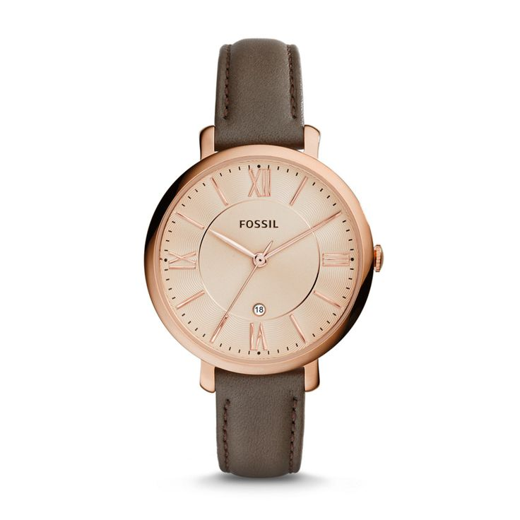 Jacqueline Three-Hand Date Leather Watch - grey ES3707 | FOSSIL® UK