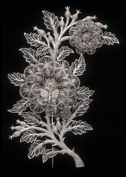 Brooch with Floral Motif and Butterfly, Kerala, India (Southern and Tamil Nadu, made), c. 1853, silver filigree, Height: 10.2 cm      filigree