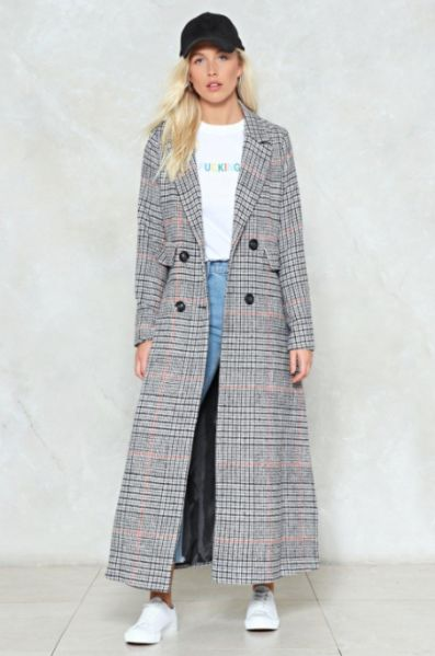 Ankle Length Coats: Nasty Gal You'll Go a Long Way check coat