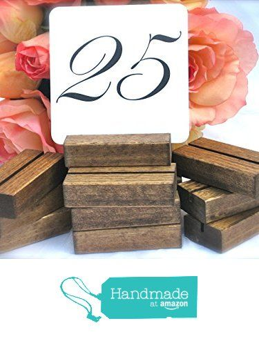 Wood Table Number Card Holder + Rustic Wedding Table Number holder (Set of 10) from G360Designs