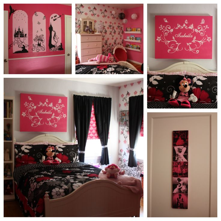 the completed bedroom pink and black disney themed diy home decor wall - Disney Bedroom Designs