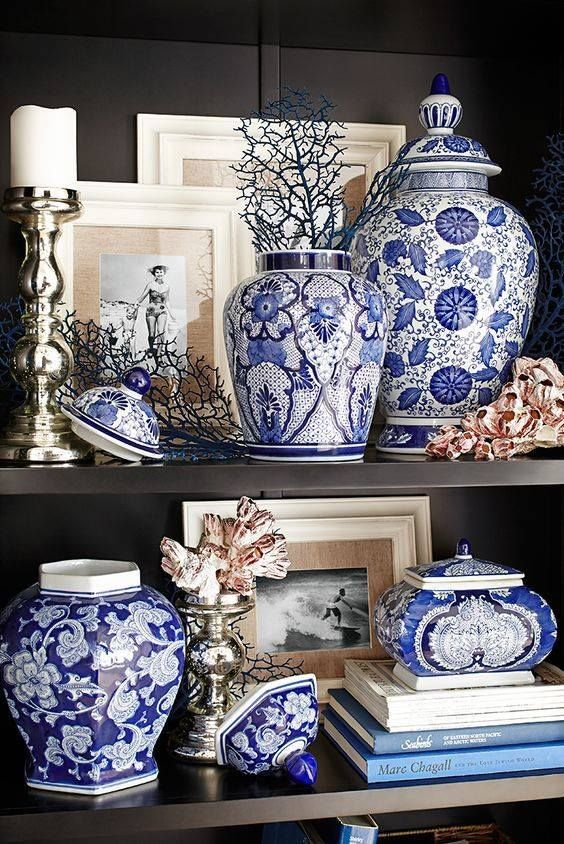 Blue and white against black - beautiful!