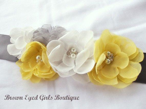 Gray Yellow & White Wedding Sash Gray and by browneyedgirlsboutiq