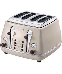De'Longhi CTOV4003BG 4 Slice Vintage Icona Toaster - Cream.