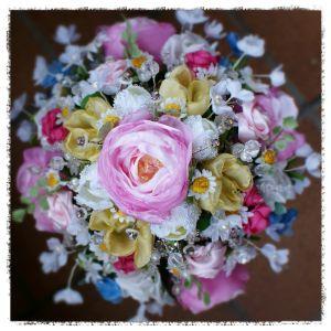 wedding bouquet for Michelle - birds eye view of this cottage garden wildflower heirloom bouquet