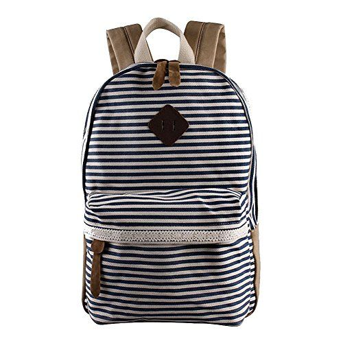 Samaz Strip Canvas Casual Bag Backpack Satchel for School College laptop Computer Bag for Girls Teens Students ** Read more reviews of the product by visiting the link on the image.