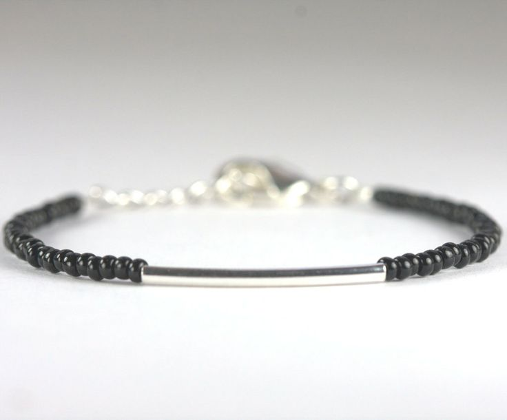 Silver Bar and Black Seed Bead Bracelet Simple by TheresaRose, $12.00