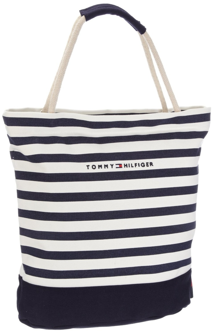 Tommy Hilfiger Women's Sailor I Small Rope Tote Canvas Beach Bag ...