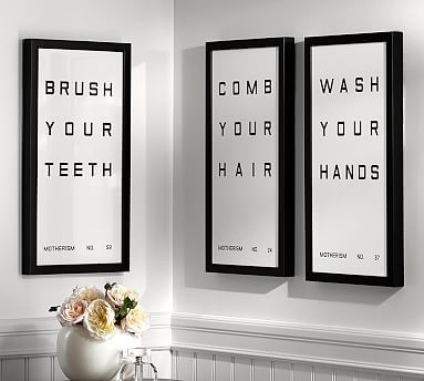 Bathroom Sign Prints - Would be great for a kids bathroom. #potterybarn