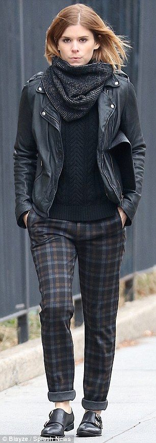 Gingham print trousers + black leather jacket + black knit top + dark snood