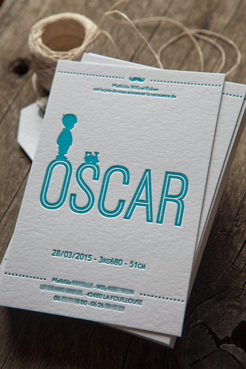 Faire-part naissance Oscar en letterpress 1 couleur / letterpress birth…