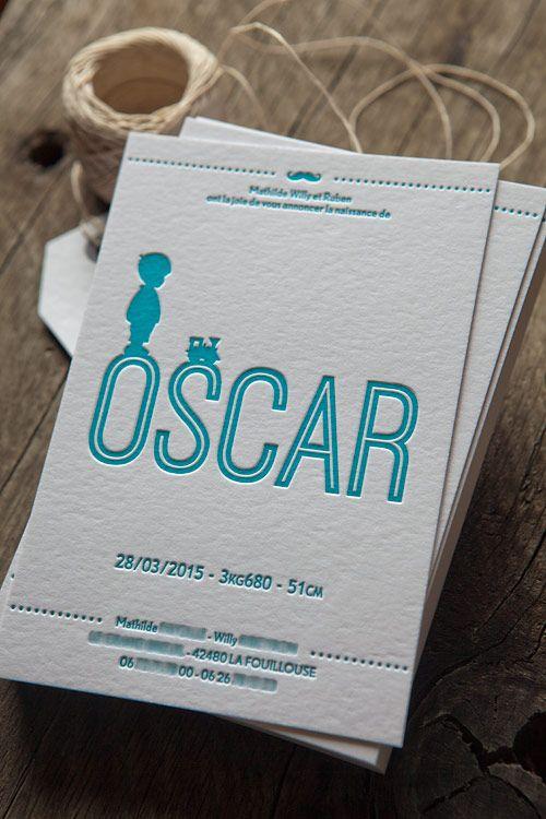 Faire-part naissance Oscar en letterpress 1 couleur / letterpress birth announcement