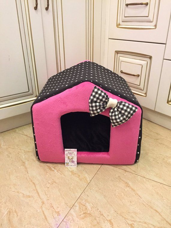 Pink And Black Polka Dot Dog House Personalized Puppy Bed Princess