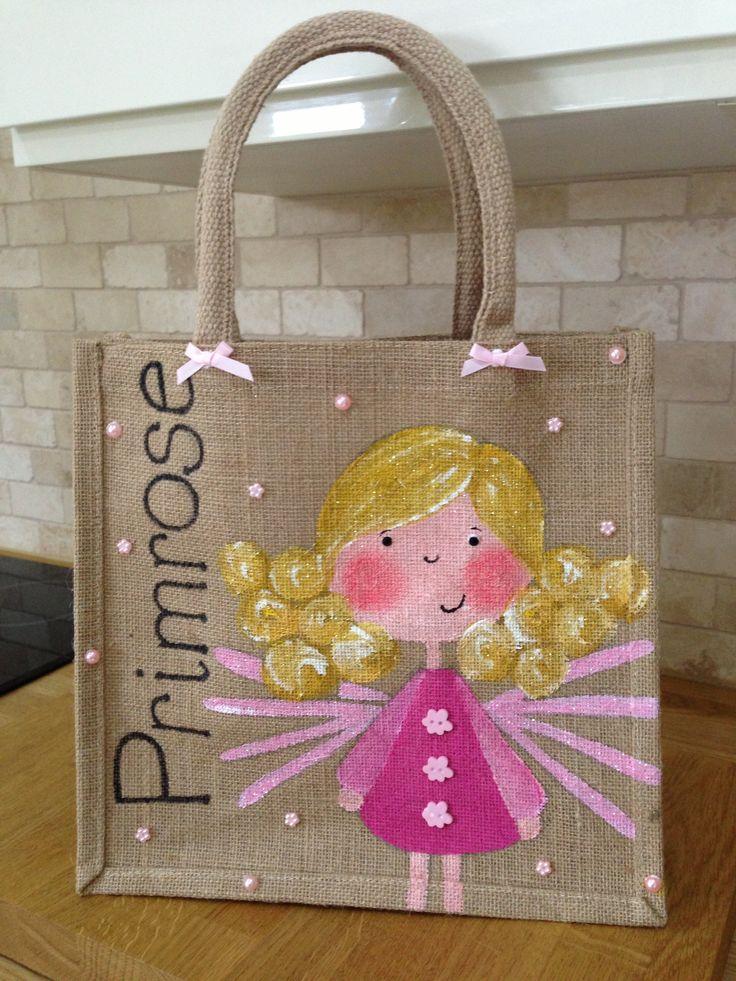 Hand painted personalised fairy jute bag