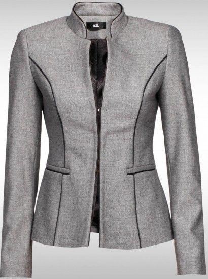 sıyah cızgılı Klasik Bayan Ceket Modelleri