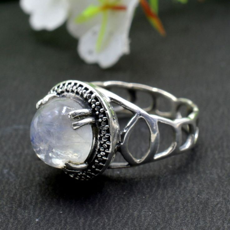 925 Solid Sterling Silver Rainbow Moonstone Gemstone Mens Ring Size 8.25 US R76 #Handmade #Cluster #Party