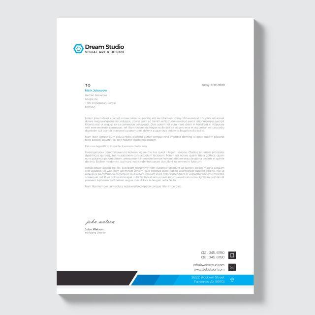 ترويسة الشركة الحديثة Blue Background Images Visual Art Company Letterhead