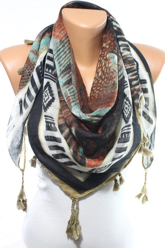 Boho Tribal foulard brun menthe écharpe moutarde motif aztèque foulard Tribal Tassel Cowl écharpe écharpe d'Accessoires femmes mode mode Bohème