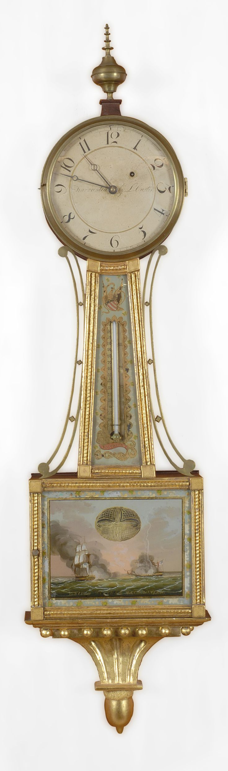 Antiques & Fine Art - Sullivan, Gary R. Antiques - An Important Federal eglomisé presentation patent timepiece with rare thermometer, Lemuel Curtis, Concord, Massachusetts, circa 1815.