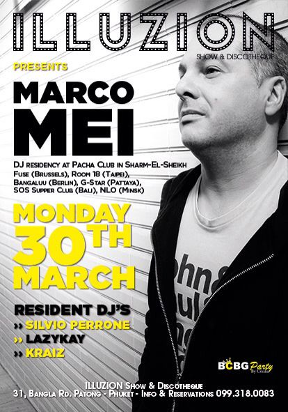 Listen to my session recorded in Phuket, Monday 30th March 2015 https://www.mixcloud.com/marco-mei/marco-mei-illuzion-phuket-thailand-monday-30th-march-2015/