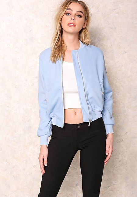 Baby Blue Felt Bomber Jacket - New Arrivals
