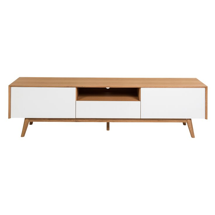 Palle Retro Scandinavian Style Entertainment Unit - Oak - Complete the retro look in your living room with the Palle. Organize your AV unit without letting those cables peek out and have enough storage for DVD's and various remote controls. Made from oak, the Palle is a sturdy entertainment unit with angled