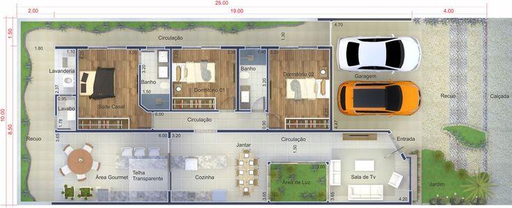 Mais um excelente projeto criado em um terreno de 10m de for Casa moderna 80m2