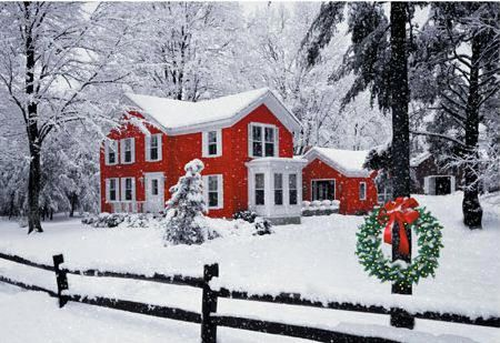 Home for the holidays.: The Holidays, Winter Scene, New England, Winter Wonderland, White Christmas, Country Christmas, Red Houses, Christmas Houses