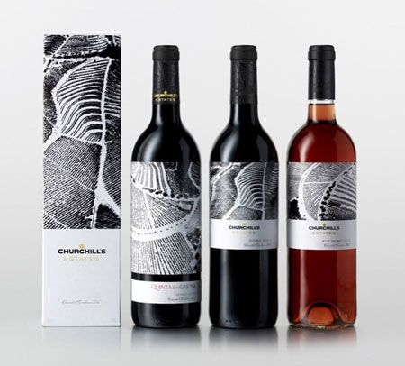Beautiful black and white labels for Churchill's wines.