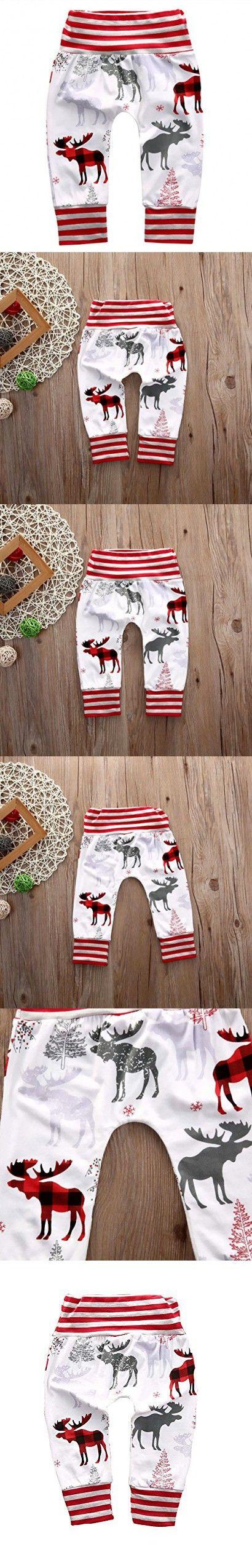 Newborn Infant Baby Boys Girls Striped Deer Bottom Harem Pants Leggings Trousers