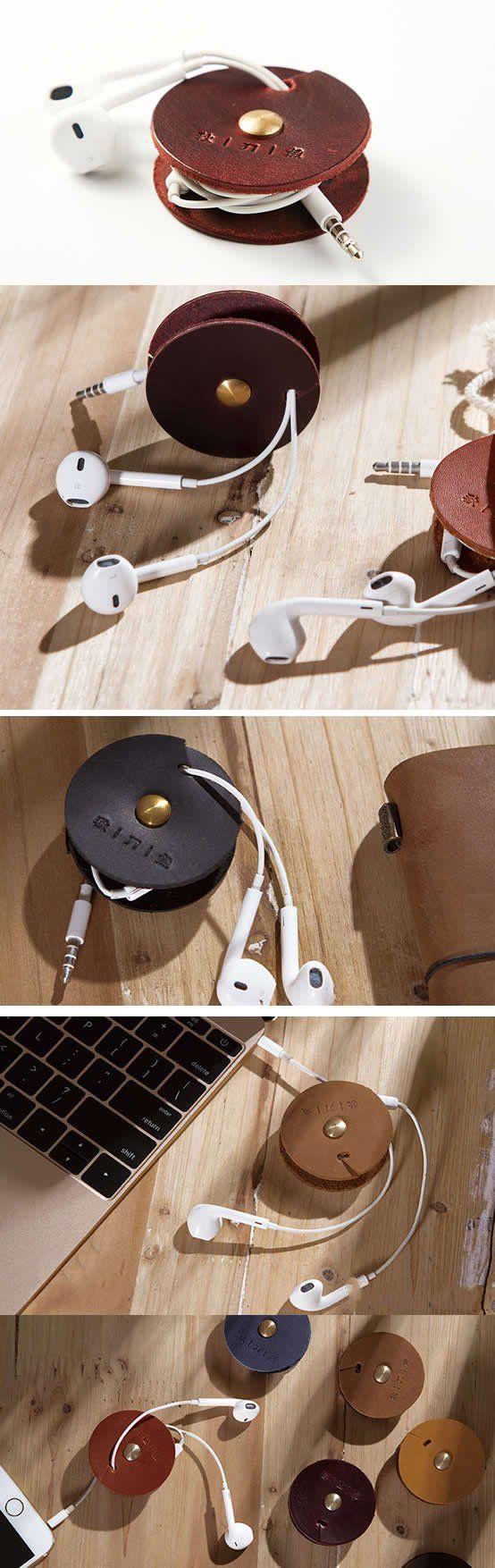 Leather Headset Headphone Earphone Wrap Winder Cable Cord Organizer Holder