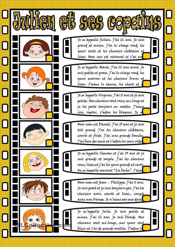 La description des personnes: Julien et ses copains