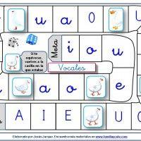 Juegos de la oca para aprender a leer las vocales en mayúscula y minúscula