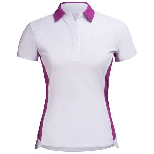 Please draw as ladies short sleeve polo…no contrast color and uneven hem at front.  The back would wrap to the front at princess seam(there would be no side seam)  Ribbed collar.