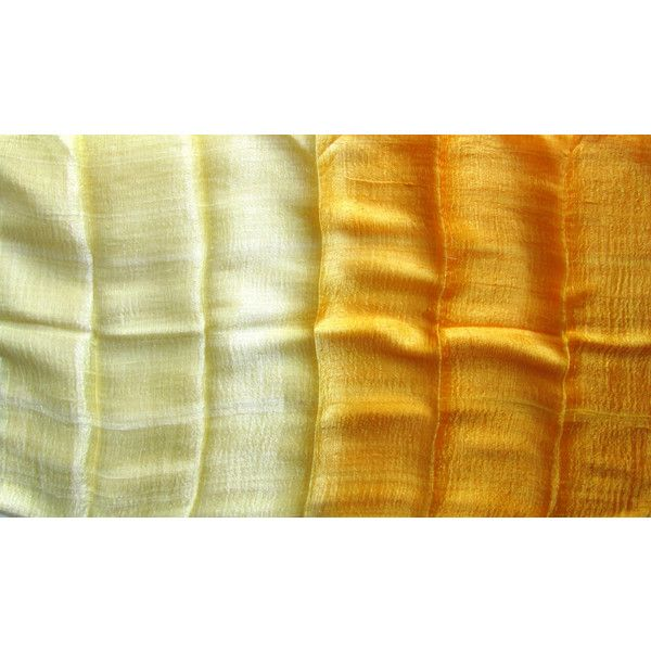 Yellow Hand Woven Raw Silk Shawl Hand Dyed Light Wheight Natural Pure Silk Wedding Shawl Bridesmaid Gift Silk Accessories Thai Silk (€20) found on Polyvore featuring women's fashion, accessories, scarves, yellow scarves, woven shawl, silk scarves, pure silk scarves and lightweight scarves