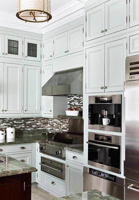 129 best beautiful non white kitchens images on pinterest for Beautiful built in kitchens