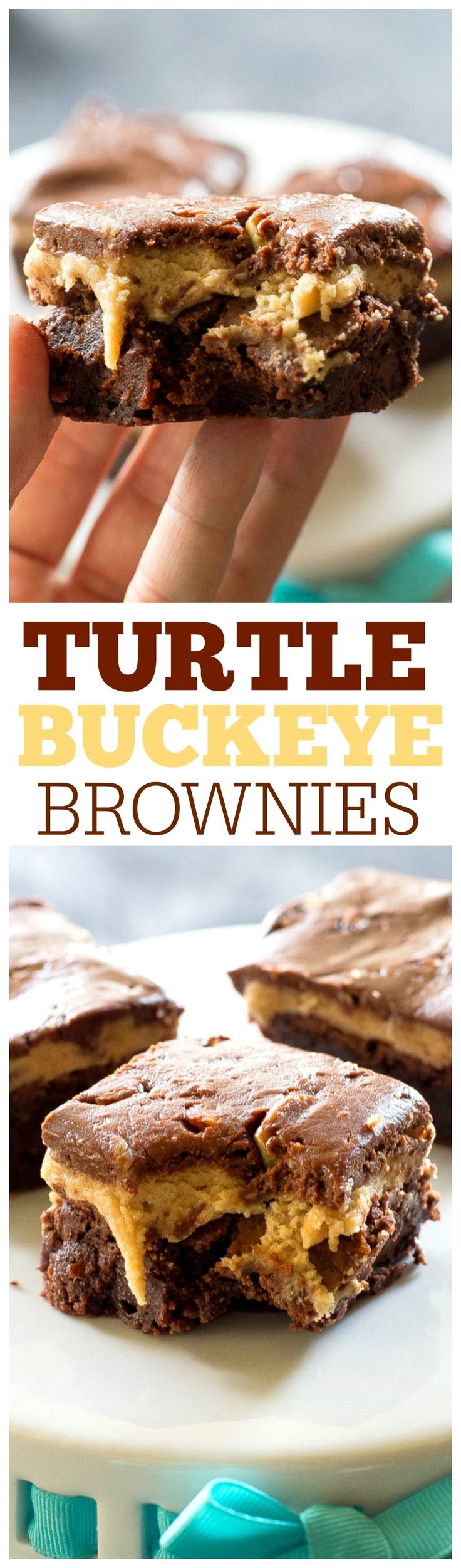 Turtle Buckeye Brownies - rich chocolate brownies, a peanut butter truffle layer and topped with a caramel chocolate pecan layer. The ultimate decadent dessert. the-girl-who-ate-everything.com
