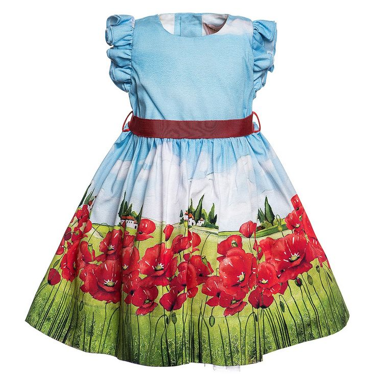 Elegant dress, hinted ruffled sleeves and poppy field photographic print. Ribbon belt. Made in Italy