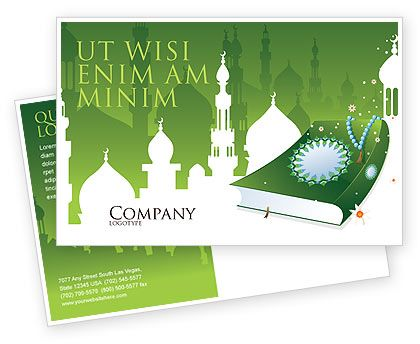 This is a Postcard Template #07628  for Koran, Muslims, Islam, Moslem countries, Arabic countries, Holy books, etc. http://www.poweredtemplate.com/brochure-templates/religious-spiritual/postcards/07628/0/index.html
